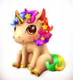 Little Unicorn cartoon character. Funny animals vector icon Royalty Free Stock Photography