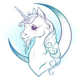 Little unicorn and crescent moon in pastel colors isolated. Sticker, print or tattoo design vector illustration.  stock illustration