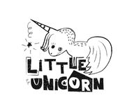 little unicorn Hand dragen stiltypografiaffisch Royaltyfria Foton