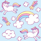 Little unicorn pattern. Fairy childhood seamless pattern with the image of cute unicorns. Colorful vector background Royalty Free Stock Photo