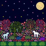 Little unicorns in the magic forest. vector illustration