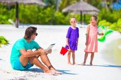 Little upset sad girls waiting father to swim Royalty Free Stock Photo
