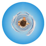 Little urban planet in morning autumn sky Stock Image