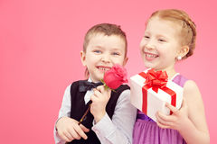Little valentines with gifts Stock Image