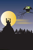 Little Vamp. Sitting on an old tree an watching moonrising Royalty Free Stock Image
