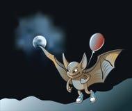 Little vampire bat. Flying in the moonlight holding air balloon, cartoon vector illustration with mesh Stock Photos