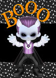 Little Vampire Boo Background. Started with a textured stars and moon background over black. Then added a black strip to break up the background. Then added the royalty free illustration