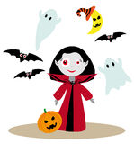 Little vampire girl. Nice cute vampire girl with funny ghosts, moon in stripped witch hat, halloween pumpkin and bats Stock Images