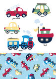 Little vehicles. Vector illustration of different types of transport with a matching repeat pattern Stock Photo