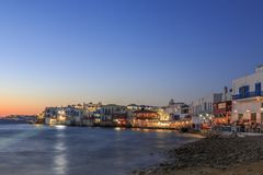 Little venice from beach in old town part of Mykonos, Greece royalty free stock images