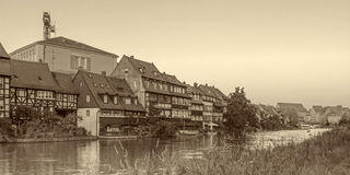 Little Venice. Black and White Picture of the historical landmark of Bamberg Little Venice. Picture was taken in early August in the evening sun. Location is the Stock Image