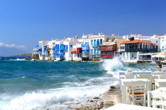 Little Venice and braking waves, Mykonos island, Greece Stock Photography