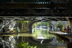 Little Venice canal in a summer day, under the bridge view in London Stock Photography