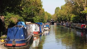 Little venice canals and barges on a sunny day. Royalty Free Stock Images