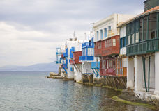 Little Venice on the island of Mykonos in Greece Royalty Free Stock Photo