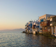 Little Venice on the island of Mykonos at sunset Royalty Free Stock Photos