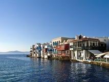 Little Venice, Mikonos, Greece. Little Venice (Alefkantra), Mikonos city, Greece stock photo