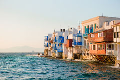 Little Venice the most popular attraction in Mykonos Island in the evening light on Greece, Cyclades Royalty Free Stock Images