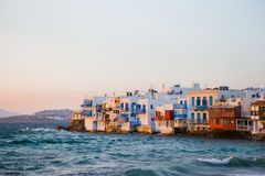 Little Venice the most popular attraction in Mykonos Island in the evening light on Greece, Cyclades Stock Image
