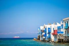 Little Venice the most popular attraction in Mykonos Island Greece, Cyclades. Little Venice in Mykonos Island Greece Cyclades Royalty Free Stock Photography