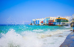 Little Venice the most popular attraction in Mykonos Island Greece, Cyclades Stock Photos