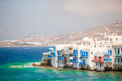 Little Venice the most popular attraction in Mykonos Island Greece, Cyclades Stock Images