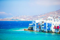 Little Venice the most popular attraction in Mykonos Island Greece, Cyclades Stock Photography