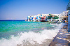 Little Venice the most popular attraction in Mykonos Island Greece, Cyclades Stock Image