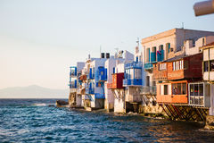 Little Venice the most popular attraction in Mykonos Island in soft evening light on Greece, Cyclades Royalty Free Stock Image