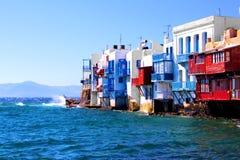 Little Venice, Mykonos. Colorful Little Venice neighborhood of Mykonos island, Greece Stock Photo
