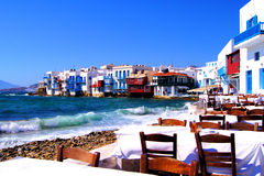 Little Venice, Mykonos. Colorful Little Venice neighborhood of Mykonos island, Greece Royalty Free Stock Image