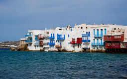 Little Venice on Mykonos in clouds Royalty Free Stock Image