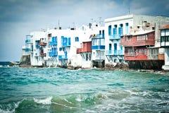 Little Venice, Mykonos, Greece. On a stormy day Stock Image
