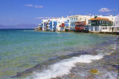 Little Venice in Mykonos, Greece Stock Photos