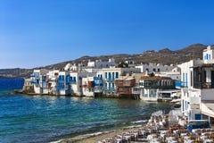 Little Venice, Mykonos. Greece. Cyclades - Mykonos. Mykonos town (Chora) - 'Little Venice Stock Photos