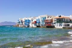 Little venice in Mykonos,Greece Stock Photo