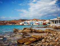 Little Venice in Mykonos, Greece. Royalty Free Stock Images