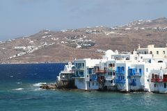 Little Venice of Mykonos - Greek Islands. A view of the Little Venice area in the island of Mykonos, Greece. The buildings are directly on the shore and hence Royalty Free Stock Photography