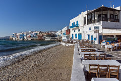 Little Venice at Mykonos Island, Cyclades Islands Stock Images