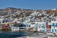 Little Venice at Mykonos Island, Cyclades Islands Stock Photos