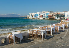 Little Venice, Mykonos Island, Greece Royalty Free Stock Images