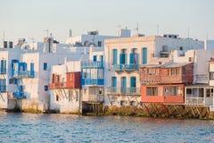Beautiful famous landmark Little Venice in Mykonos Island on Greece, Cyclades. Little Venice in Mykonos Island Greece Cyclades Royalty Free Stock Images