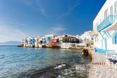 Little Venice on Mykonos island, Greece stock images
