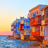 Little Venice in Mykonos royalty free stock images