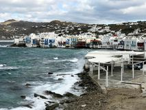 Little Venice, in Mykonos, Seen from the Mills royalty free stock image