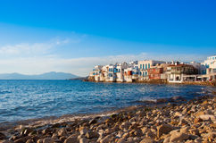 Little Venice on Mykonos  at sunset... Stock Photography