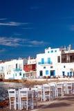 Little Venice neighborhood along the shore of Mykonos Stock Images
