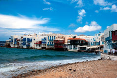 Little Venice neighborhood along the shore of Mykonos Stock Photography