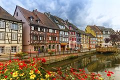 Little Venice, petite Venise, in Colmar, Alsace, France. Famous traditional colorful timbered houses in Little Venice, petite Venise, Colmar, Alsace, France royalty free stock photography