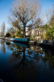 Little Venice is a very singular place in London along Regent`s Royalty Free Stock Image